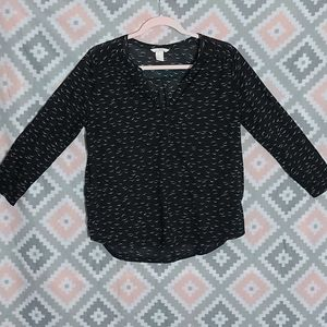 H & M Black Scoop Neck Tunic With Seagulls